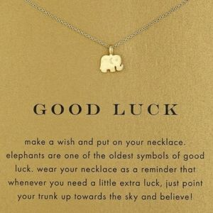 Elephant Good Luck Necklace in Gold color